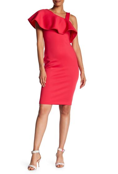 Imbracaminte Femei Modern American Designer Asymmetrical Popover Scuba Dress LIPSTICK