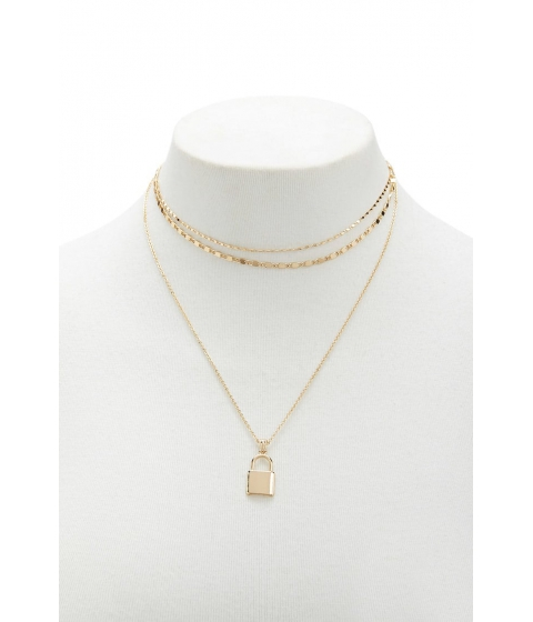 Bijuterii Femei Forever21 Layered Lock Necklace GOLD