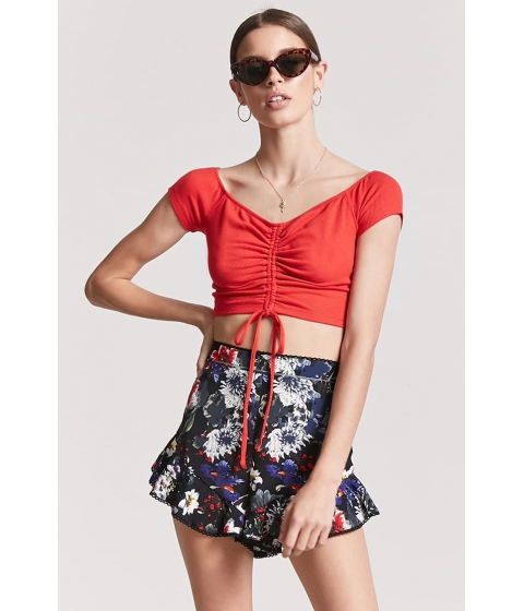 Imbracaminte Femei Forever21 Ruched Off-the-Shoulder Crop Top RED