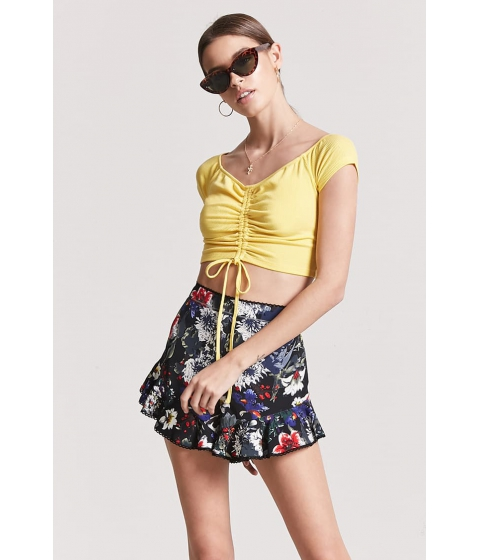 Imbracaminte Femei Forever21 Ruched Off-the-Shoulder Crop Top YELLOW