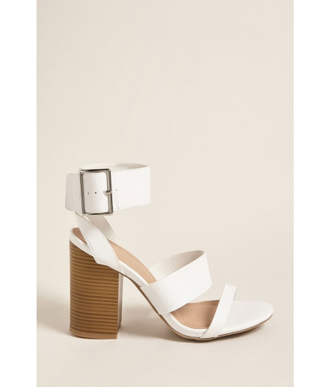 Incaltaminte Femei Forever21 Faux Leather Strappy Heels WHITE