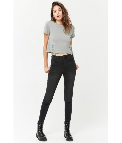 Imbracaminte Femei Forever21 Lace-Up Slub Knit Tee SAGE