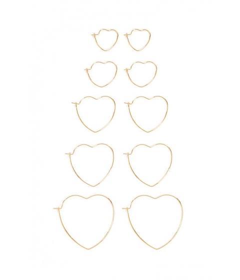 Bijuterii Femei Forever21 Heart Hoop Earring Set GOLD