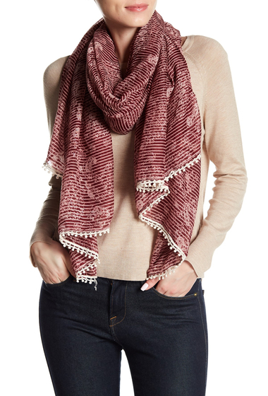 Accesorii Femei Melrose and Market Paisley Stripe Patterned Tassel Trim Scarf BURGUNDY COMBO