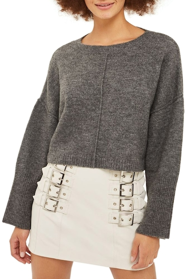 Imbracaminte Femei TOPSHOP Wide Sleeve Crop Sweater CHARCOAL