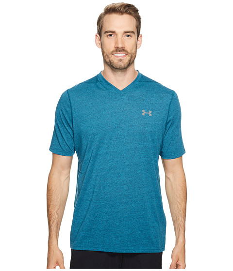 Imbracaminte Barbati Under Armour UA Threadborne V-Neck Stripe Bayou BlueGraphite