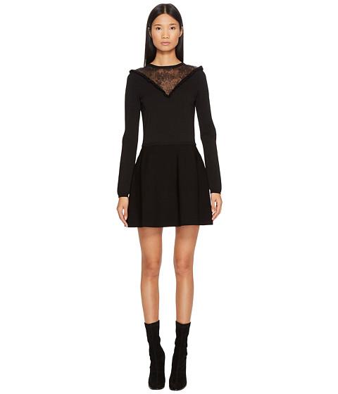 Imbracaminte Femei Red Valentino Stretch Viscose Yarn amp Lace Dress Black