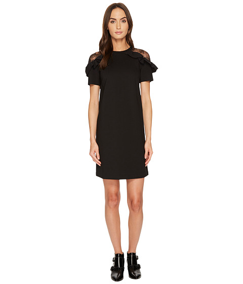 Imbracaminte Femei Red Valentino Pointe Jersey amp Flower Ramage Lace Dress Black