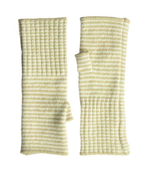 Accesorii Femei Echo Design Echo Soft Stretch Mini Stripe Fingerless Gloves Oatmeal