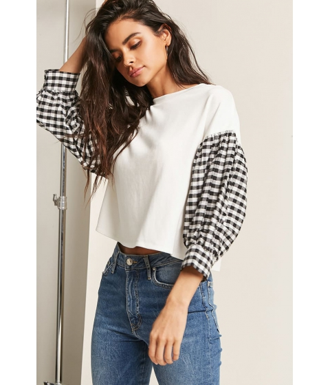 Imbracaminte Femei Forever21 Contrast Gingham Top IVORY