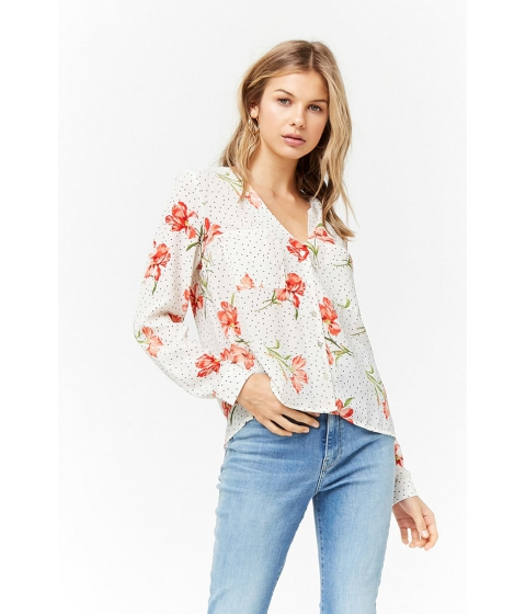 Imbracaminte Femei Forever21 Pin Dot Floral Top IVORYCORAL