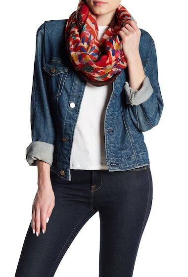 Accesorii Femei Natasha Accessories Striped Floral Infinity Scarf RED COMB