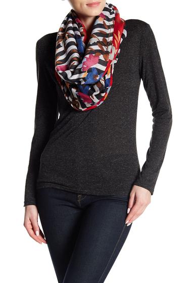 Accesorii Femei Natasha Accessories Striped Floral Infinity Scarf BLK COMB