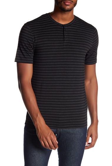 Imbracaminte Barbati Slate Stone Striped Short Sleeve Henley BLACK CHARCOAL STRIPE