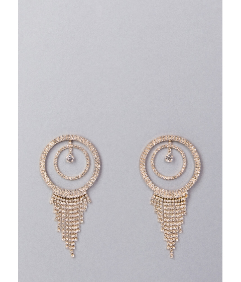 Bijuterii Femei CheapChic Fringe Fan Round Rhinestone Earrings Gold