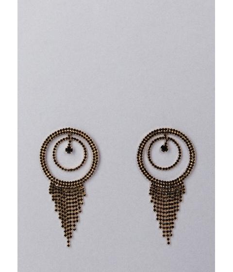 Bijuterii Femei CheapChic Fringe Fan Round Rhinestone Earrings Black