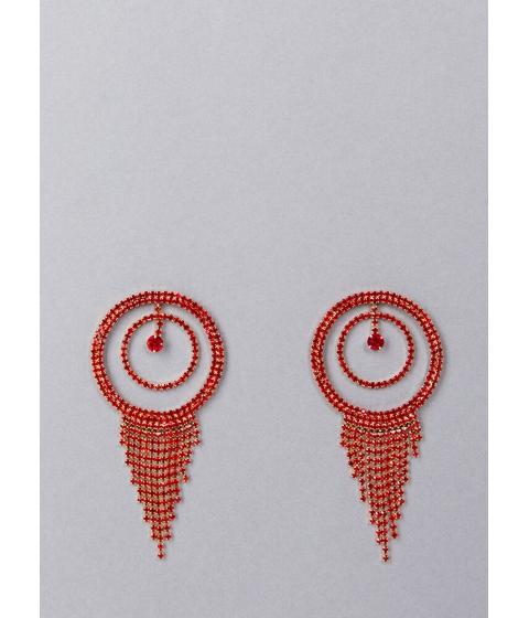 Bijuterii Femei CheapChic Fringe Fan Round Rhinestone Earrings Red