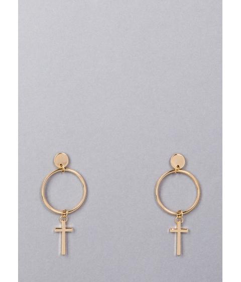 Bijuterii Femei CheapChic Knock Knock Cross Charm Hoop Earrings Gold