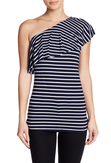 Imbracaminte Femei Tart One-Shoulder Ruffle Overlay Top NAVY-WHITE STRIPE