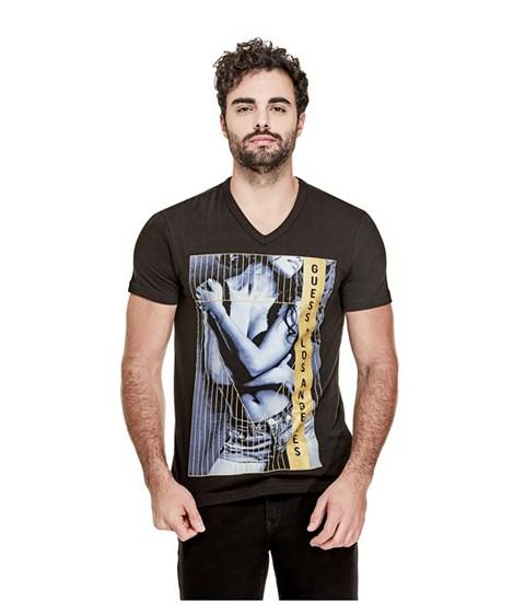 Imbracaminte Barbati GUESS Almo V-Neck Logo Tee jet black