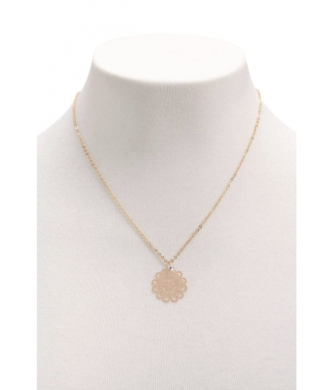Bijuterii Femei Forever21 Faux Crystal Filigree Necklace GOLDCLEAR