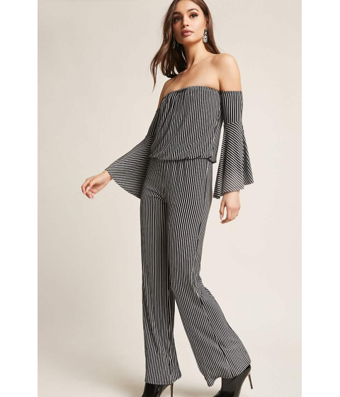 Imbracaminte Femei Forever21 Stripe Off-the-Shoulder Jumpsuit BLACKWHITE