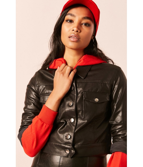 Imbracaminte Femei Forever21 Cropped Faux Leather Jacket BLACK