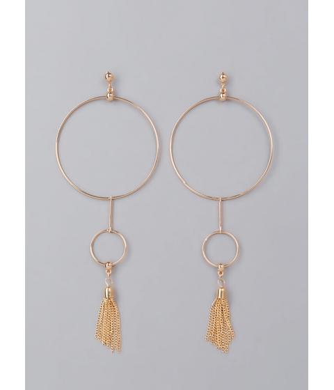 Bijuterii Femei CheapChic Ring Leader Tasseled Hoop Charm Earrings Gold