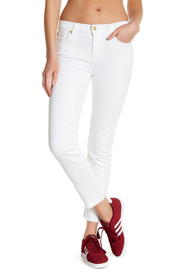 Imbracaminte Femei 7 For All Mankind Roxanne Ankle Raw Hem Skinny Jeans WHITE