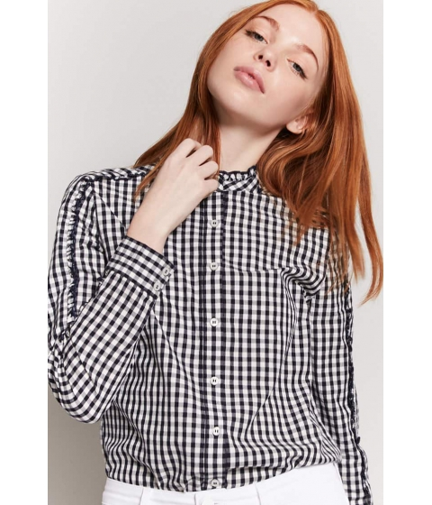 Imbracaminte Femei Forever21 Gingham Ruffle Button-Front Shirt NAVYCREAM