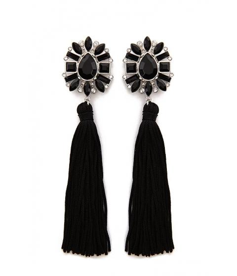 Bijuterii Femei Forever21 Faux Gem Rhinestone Tassel Drop Earrings BLACKSILVER