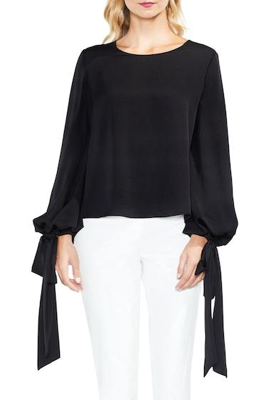 Imbracaminte Femei Vince Camuto Tie Cuff Bubble Sleeve Blouse Regular Petite RICH BLACK