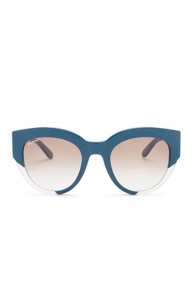 Ochelari Femei Salvatore Ferragamo Womens Plastic Two-Toned Cat Eye Sunglasses PETROLDUST