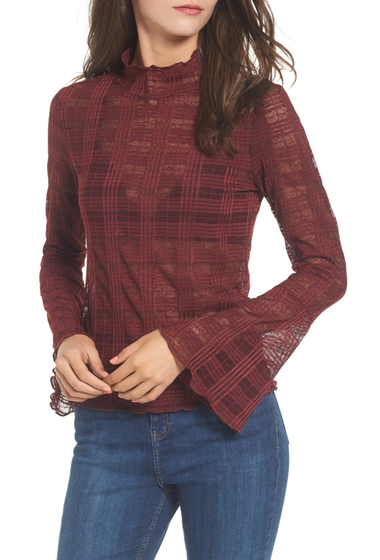 Imbracaminte Femei Leith Bell Sleeve Mesh Top RED TANNIN