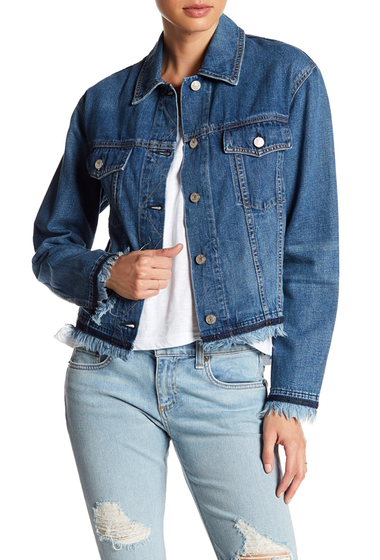 Imbracaminte Femei Rag Bone Oversized Denim Raw Hem Jacket FRINGED