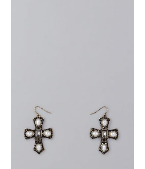 Bijuterii Femei CheapChic Pearl Dive Jeweled Cross Earrings Black