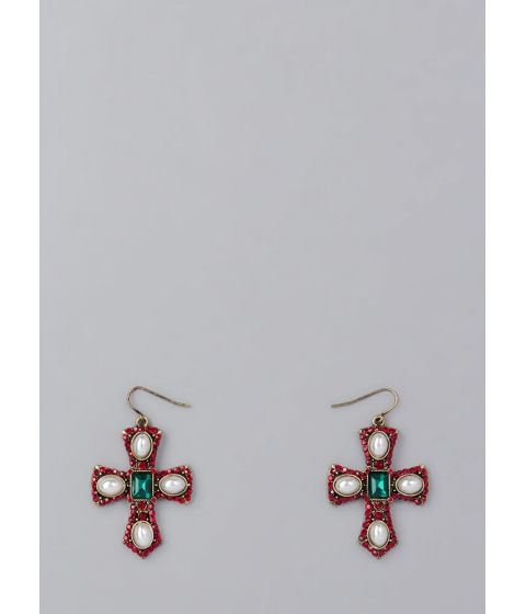 Bijuterii Femei CheapChic Pearl Dive Jeweled Cross Earrings Red