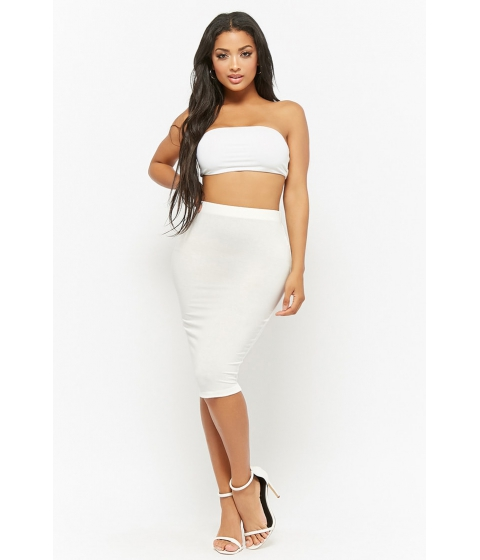 Imbracaminte Femei Forever21 Stretch-Knit Pencil Skirt WHITE