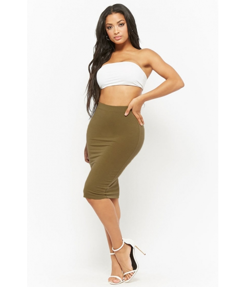 Imbracaminte Femei Forever21 Stretch-Knit Pencil Skirt OLIVE