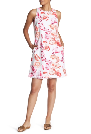 Imbracaminte Femei Tommy Bahama Florals Falling Sleeveless Linen Blend Dress RASPBERRY
