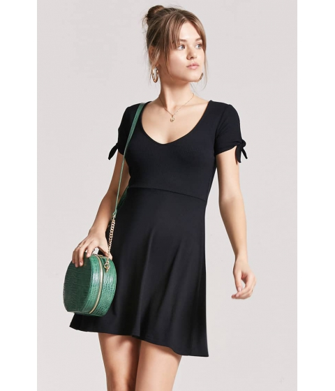 Imbracaminte Femei Forever21 Ribbed Knotted-Sleeve Dress BLACK