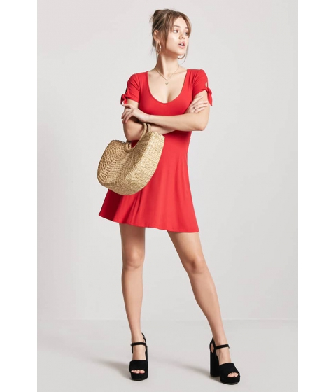 Imbracaminte Femei Forever21 Ribbed Knotted-Sleeve Dress RED