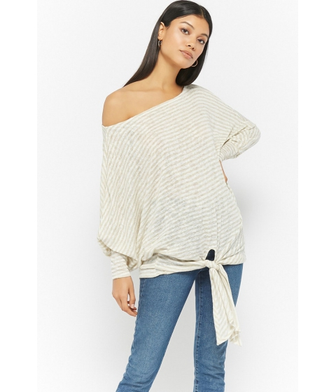 Imbracaminte Femei Forever21 Striped Off-the-Shoulder Top OATMEAL