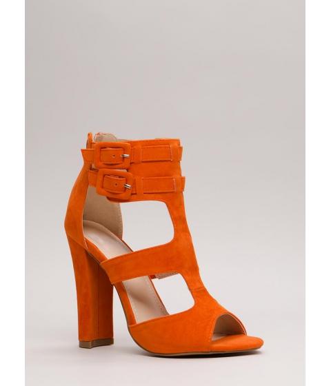 Incaltaminte Femei CheapChic Gettin It Strappy Caged Cut-out Heels Orange