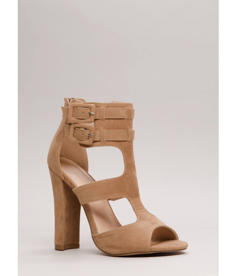 Incaltaminte Femei CheapChic Gettin It Strappy Caged Cut-out Heels Taupe