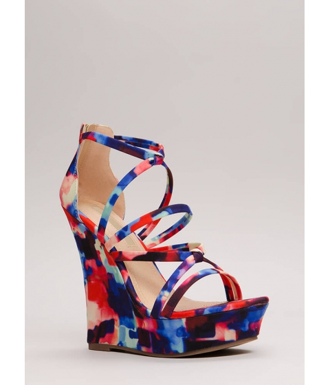 Incaltaminte Femei CheapChic Knots And Straps Abstract Print Wedges Multi