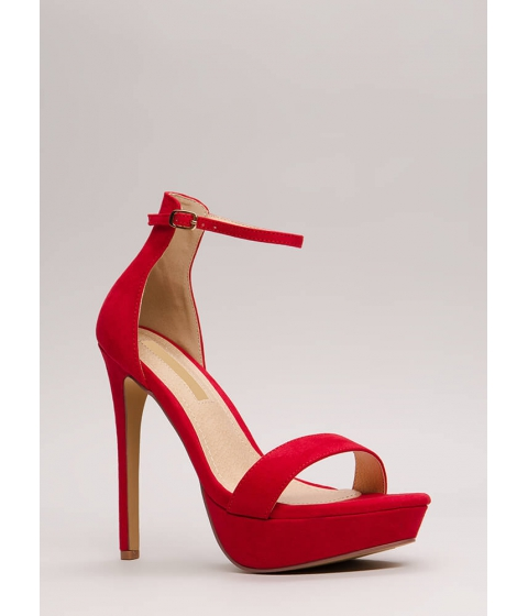 Incaltaminte Femei CheapChic Higher Up Strappy Faux Suede Platforms Red