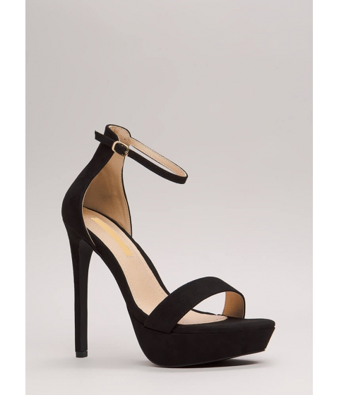 Incaltaminte Femei CheapChic Higher Up Strappy Faux Suede Platforms Black