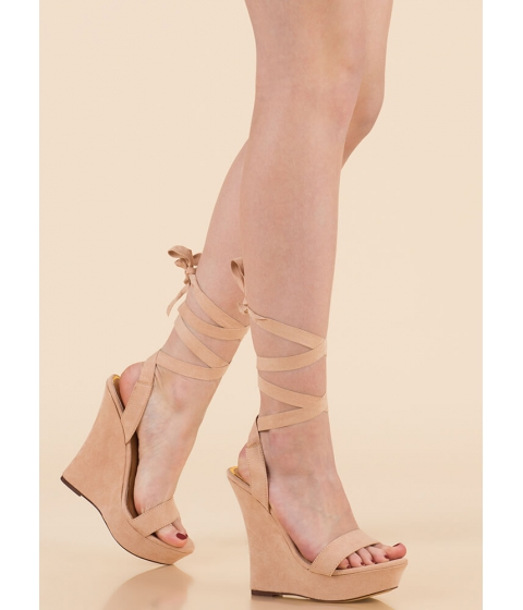 Incaltaminte Femei CheapChic All Tied Up Faux Suede Platform Wedges Nude