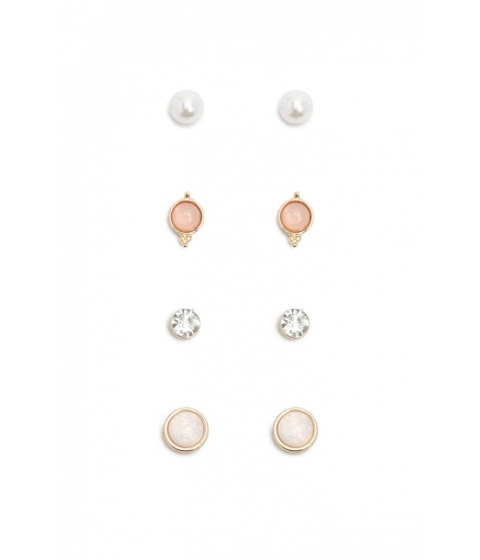 Bijuterii Femei Forever21 Faux Gemstone Pearl Earring Set GOLDPINK